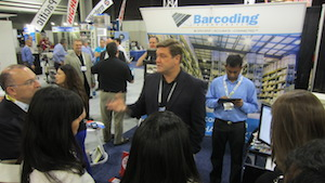 <p>Barcoding's Shane Snyder, president, discussed the company's latest technologies with a student tour group on Wednesday.</p>