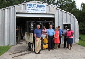 <p>From left to right: Robbie Taylor (First Born), Carolyn Spencer (First Born), Joe McClenney (NMHG), Kelly Smith (NMHG), Troy Smith (Dougherty Equipment Company), Jack Jones (First Born), Marsena James (First Born).</p>