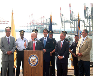 <p>Senator Lautenberg is joined at Port Newark by officials from the Port Authority of NY/NJ to announce New Jersey priorities in the homeland security funding bill. Lautenberg became Chairman of the Senate Appropriations Subcommitee on Homeland Security earlier this month. (July 20, 2010)</p>