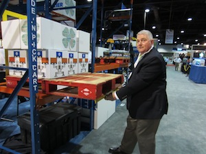 <p>Domenick Iellimo, executive vice president of Frazier Industrial (Booth 9331) showcased the company's ergonomic Glide 'N Pick order selector rack.</p>