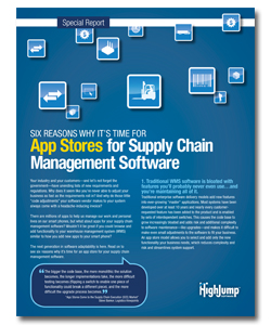 """<p>There are millions of apps for our smart phones. Why not an app store for your warehouse management system (WMS) too? Download the free report: """"Six Reasons Why It's Time for App Stores for Supply Chain Management Software"""".</p>"""