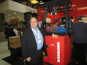 <p>Bruce Stubbs, director of industry marketing, shows off the new Thor VM3 vehicle-mounted computer.</p>