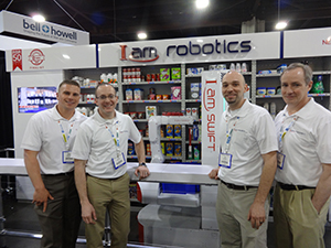 <p>Butch Kriger, Sales Director; John Cameron, Principal Engineer; Tom Galluzo, CEO;<br /> Ricky Houghton, Chief Software Engineer; with the Swift fully autonomous mobile picking robot</p>