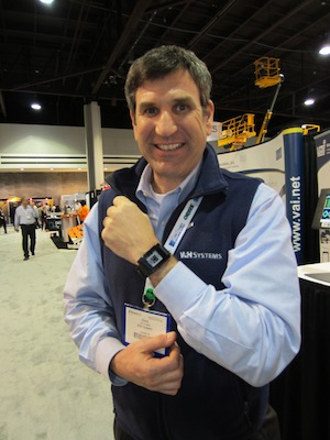 <p>Chris Castaldi, Manager of Business Development for W&amp;H Systems (Booth 4726) showed how the company&#8217;s next generation Warehouse Control System (WCS), Shiraz, shares high-level key performance indicators of operational productivity on a Pebble Smartwatch.</p>