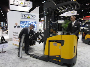 <p> Perry Ardito, General Manager on left. On the forklift is James Gully, sales manager</p>