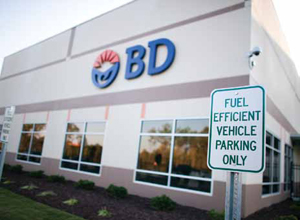 <p>Employees driving fuel-efficient vehicles get some of the closest parking spots at the main entrance.</p>