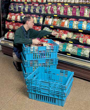 "<p>While food items have long been distributed to stores in returnable plastic bins, more growers are capitalizing on the ""eat local"" trend, with fresh produce put on floor displays in a container delivered straight from the field.</p>"