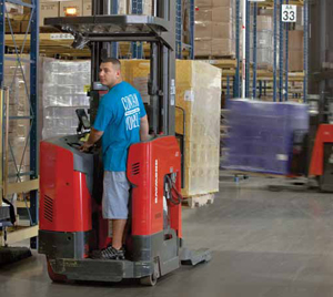 <p>More than 50 lift trucks, including pallet trucks (shown) for floor-level processes like primary picking, keep the facility humming.</p>