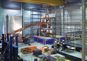 <p>At this testing facility, the goal of seismically engineered rack is to make it able to absorb the shock caused by a seismic event.</p>