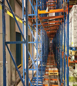<p>The AS/RS features 10 aisles, five cranes and 25,000 pallet positions and operates in an energy-saving, lights-out environment.</p>