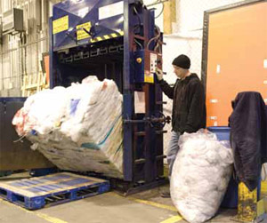 <p>Materials like plastic (shown) and corrugated are baled for recycling to minimize the amount of waste leaving the facility.</p>