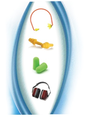 <p>The four most common hearing protection styles include (from top) canal cap, pre-molded plugs with a rigid stem, compressible foam plugs, and ear muffs.</p>