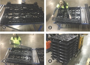 <p>As seen in the above steps, adding removable runners to Sonoco's injection-molded nestable pallet enables stacking and easier handling with a lift truck.</p>