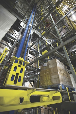 <p>A robotic storage and retrieval system can retrieve a pallet from deep storage system.</p>