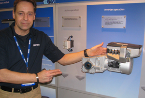 <p>Joachim Hanke with the Servo Inverter i700</p>