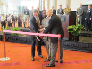 <p>MHIA chairman Dave Young, Atlanta Mayor Kasim Reed and MHIA CEO George Prest welcome attendees to the first-ever Modex show.</p>