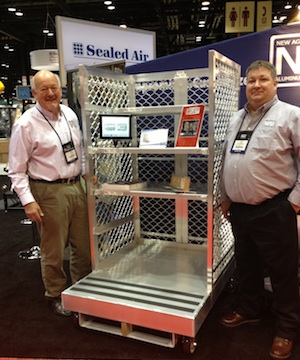 <p>Bob Brackle, national sales manager for material handling, and Phil Gottstine, sales engineer, stand with ProMat Innovation Award finalist cart #99664.</p>