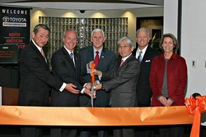 <p>Left to right: Toshiya Yamagishi, president of Toyota Industrial Equipment Mfg., president of Toyota Industries North America and Chairman of Toyota Material Handling North America; Brett Wood, president and CEO of Toyota Material Handling North America; Mike Pence, Indiana Governor; Ted Toyoda, chairman for Toyota Industries Corporation; Jeff Rufener, president of Toyota Material Handling, U.S.A.; and Columbus Mayor Kristen Brown.</p>