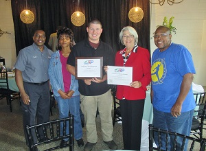 <p>Left to right: LJ Wade, Rose Pate, Tyler Stanley, NC Commissioner of Labor Cherie Berry, Edward Cobb</p>