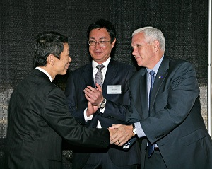 <p>TICO president Akira Onishi, TIEM president and CEO Takafumi &#8220;Alex&#8221; Zensho, and Indiana Governor Mike Pence.</p>