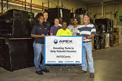 <p>Apex Tool Group associates prepare to ship thousands of demolition and construction tools to be used in recovery efforts from Hurricane Harvey. Behind them are just some of the 50-plus pallets of tools, which represent an in-kind donation valued at $110,000.</p>