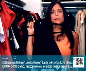 "<p>A screenshot One of Bluefly's ""Closet Confessions"" commercials, featuring Bethenny Frankel of ""The Real Housewives of New York City,"" with scannable information about things for sale on Bluefly. <i>Image courtesy of the New York Times.</i></p>"