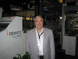 <p>Mike Khodl, Dematic's vice president, solution development, discussed multi-channel distribution at press conference on Monday.</p>