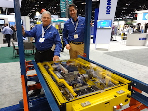 <p>Domenick Iellimo (left) executive VP &amp; Benjamin Miller, GM, Pallet Mole Automation - with the Pallet Mole System</p>