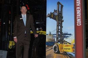 <p>Mark Hoch, vice president of sales for Hyster, poses with the H360-36/48HD.</p>