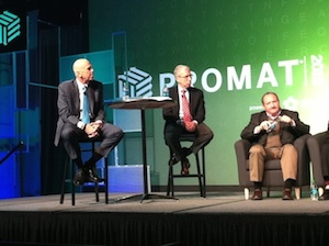 <p>George Prest of MHI poses a question at Wednesday&#8217;s keynote as co-moderator Scott Sopher looks on. Seated at right is Bill Abernathy of Bayer CropScience.</p>