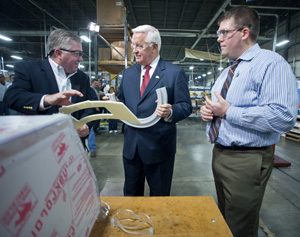 <p>Lehigh Valley Plastics President Dave Keim, Governor Corbett and Plant Manager, Dru Hayward.</p>