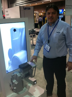 <p>Robert Gradischnig, electro-mechanical business development manager with Lenze, shows how a smart phone can be used to wirelessly change settings on a Lenze Smart Motor.</p>