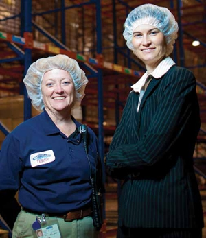 <p>Voice recognition speeds bakery fresh treats to customers at Tasty Baking's new state-of-the-art bakery. Terry Sabler, director of distribution (left) and Autumn Bayles, senior vice president of strategic operations (right) oversee distribution.</p>