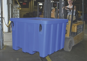 <p>To help shippers of hazardous materials secure the contents of their loads, Meese Orbitron Dunne engineered a latch-based fastening system that's integrated into its P-291 bulk forklift container.</p>