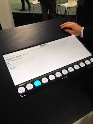 <p>This booth display shows how HighJump's HTML5-based mobile app functions for associates are streamlined, with one simple screen per data entry task.</p>
