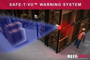 Safe-T-VU在机架过道的尽头沟通交通风险