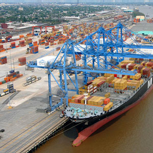 <p>Container ship is unloaded at the Napoleon Avenue terminal at the Port of New Orleans.</p>