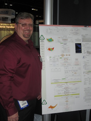 <p>Keven Thuet, director of systems development for TGW, is demonstrating Logistics Genome Mapping at the TGW booth.</p>