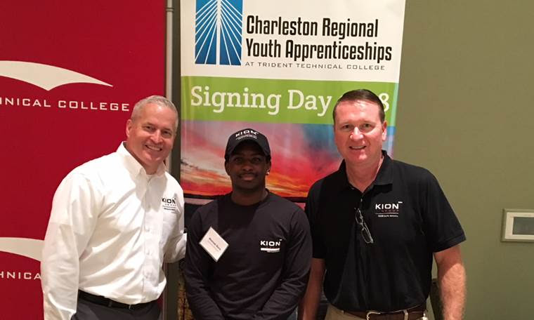 <p>(L-R) Jeff Peterson, director of manufacturing at KION North America; Marcus Gore, youth apprentice; David Brown, director of human resources at KION North America.</p>