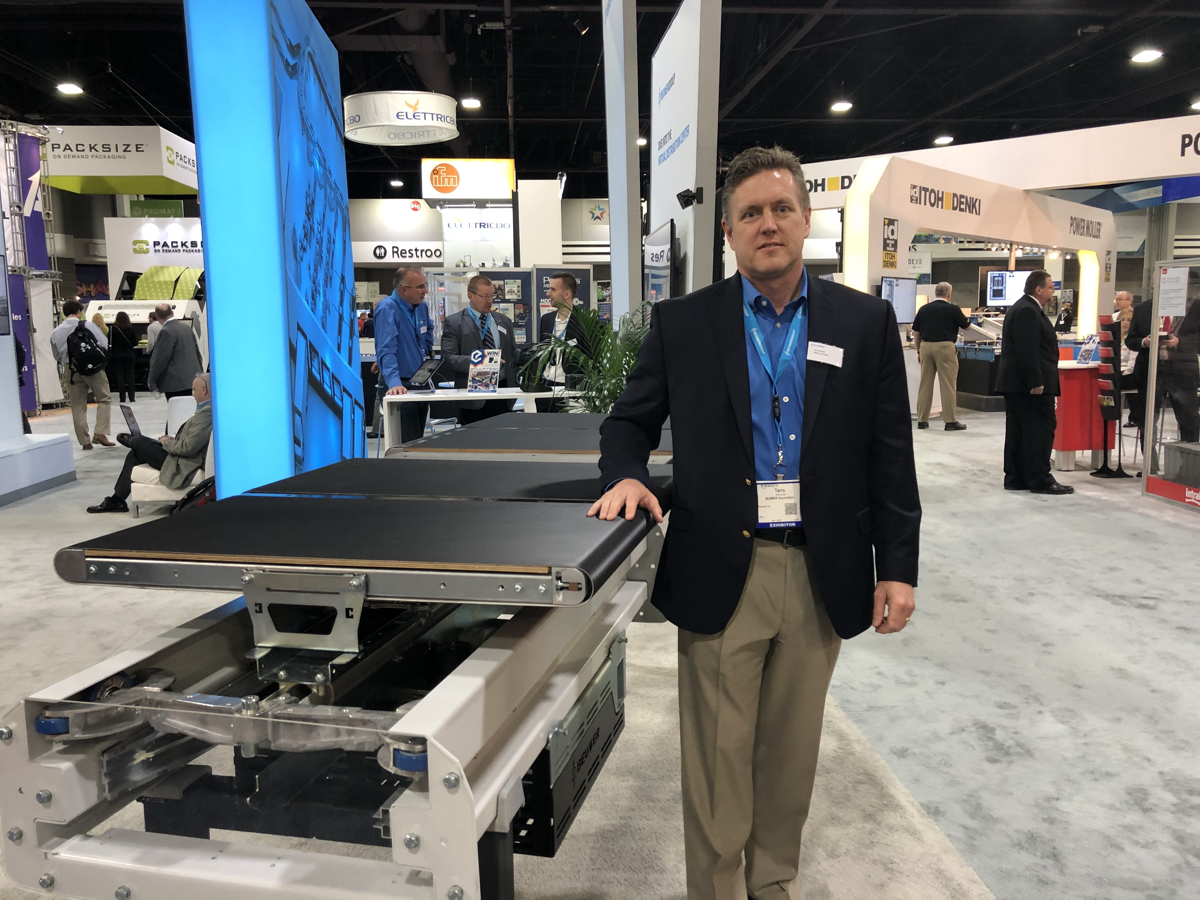 <p>Terry Brown, Director of Sales, with the new BG Sorter</p>