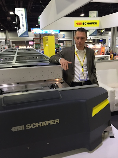 <p>Mark Dickinson, SSI Schaefer&#8217;s head of IT sales in North America, with the new Flexi shuttle.</p>