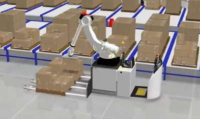 <p>This is a still from a 3D render of one of Bastian Solutions&#8217; latest concepts, an automated guided vehicle (AGV) carrying a robot that picks product and builds mixed case pallets.</p>