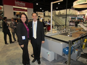 <p>Rebekah Lemm, global business unit director for logistics and material handling, and Mark Costanzo, packaging and material handling division, team leader, Americas for Intralox.</p>