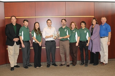 <p>The team from MSU placed third – pictured here with corporate sponsors<br /> (l to r) Mike Riba, Shell Oil Company; Michael Forbes, Northrop Grumman; MBA student Rachal Snider; MBA student Robert McElmurry; Stanley Griffis, associate professor of supply chain management; Judith Whipple, team adviser and associate professor of supply chain management; MBA student Kevin Xujin; Michelle Braun, General Motors Foundation; and Chuck Doyle, Ford Motor Company.</p>