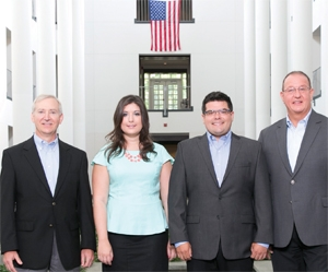 <p>Left to right: Larry Smith, vice president for global supply chain; Mary Groskin, supply chain development associate; Devin Maguire, supply chain project manager; Ewald Parolari, senior director for supply chain operations.</p>